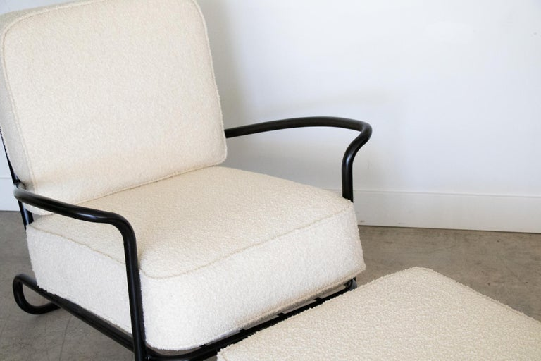 Bouclé Pair of Iron and Boucle Chairs with Ottomans For Sale