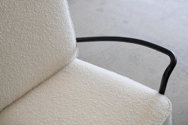 Pair of Iron and Boucle Chairs with Ottomans For Sale 1