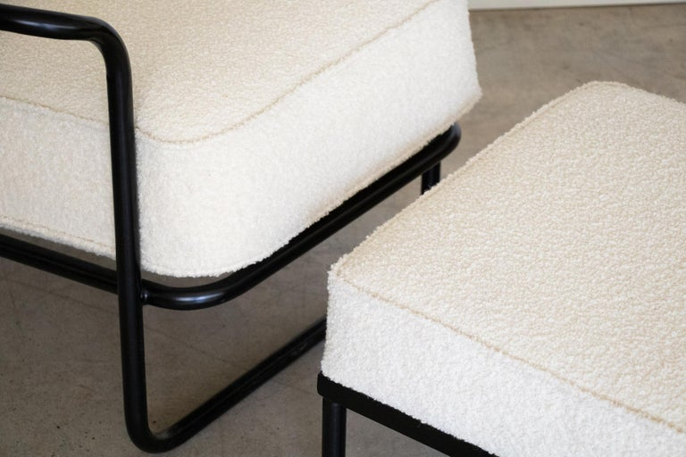 Pair of Iron and Boucle Chairs with Ottomans For Sale 2