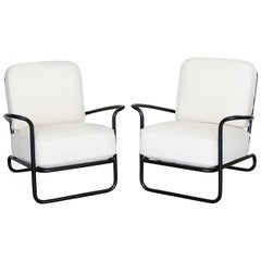 Pair of Iron and Boucle Chairs with Ottomans