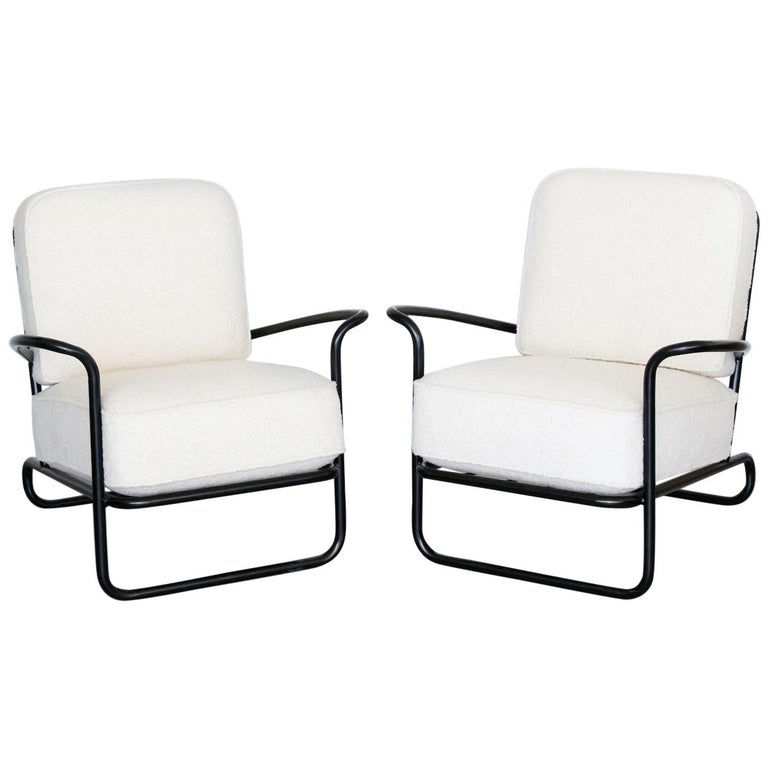 Pair of Iron and Boucle Chairs with Ottomans For Sale