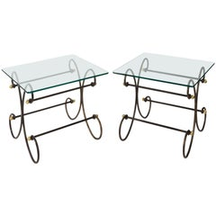 Pair of Iron and Brass Side Tables