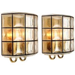 Pair of Iron and Bubble Glass Sconces Wall Lamps by Limburg, Germany, 1960