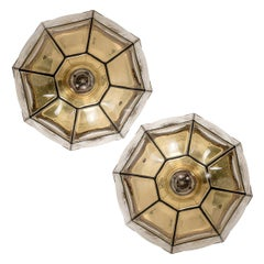 Pair of Iron and Clear Glass Lantern Flush Mounts/ Wall Lights by Limburg, 1960s