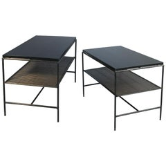 Pair of Iron and Ebonized Maple Tables or Nightstands by Paul McCobb