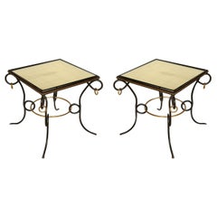 Pair of Iron and Gilt End Tables Attributed to René Prou
