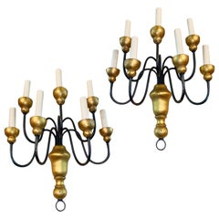 Pair of Iron and Gilt Wood Sconces