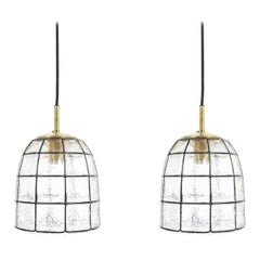 Pair of Iron and Glass Pendant Lamp with Polished Brass by Limburg, 1960