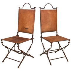 Pair of Iron and Leather Chairs by Ilana Goor