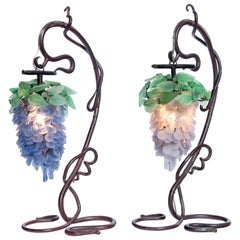 Pair of Iron and Venetian Glass Table Lamps, Italy, circa 1900