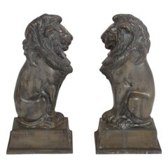 Pair of Iron Andirons or Fire Dogs Modeled as Lions after Artist Alfred Stevens