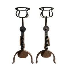 Pair of Iron Andirons with Port Warmers and Roll Bar Supports, circa 1900