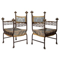 Pair of Iron Armchairs, Southern Europe, 18th Century