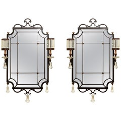 Pair of Iron, Brass and Crystal Sconce Mirrors