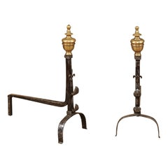 Pair of Iron & Brass Andirons with Fleurs de Lis, France, 18th Century