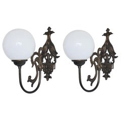 Pair of Iron Brass Wall Sconce with Opaline Glass Globe, Indoor and Outdoor Use
