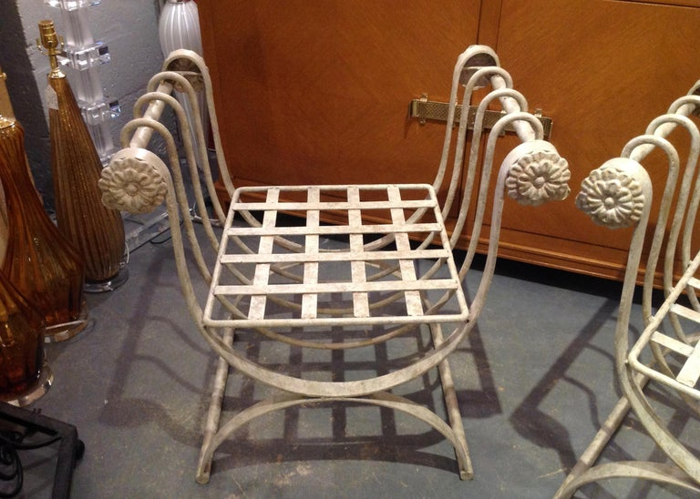Pair of Iron Curule Benches For Sale 4