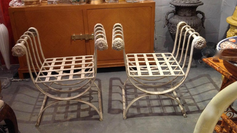 Neoclassical Pair of Iron Curule Benches For Sale