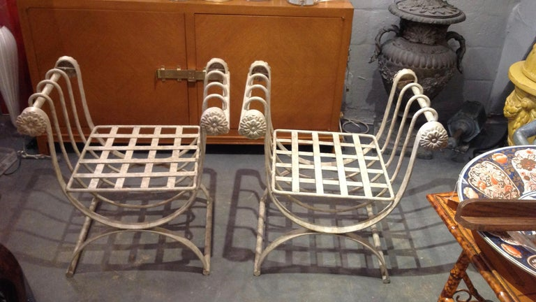 American Pair of Iron Curule Benches For Sale