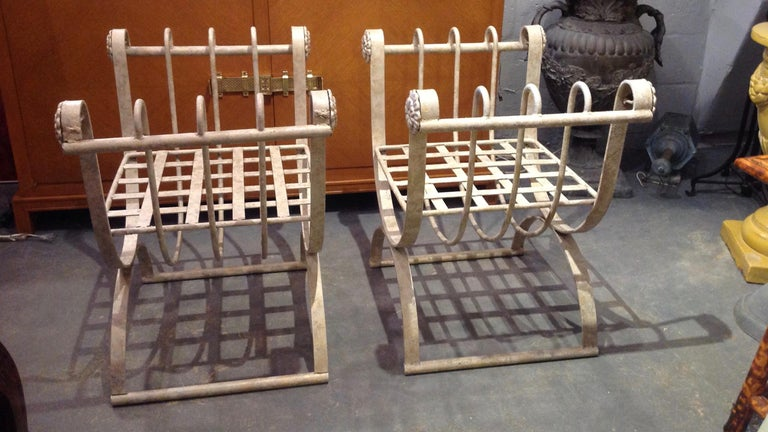 20th Century Pair of Iron Curule Benches For Sale