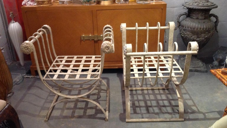 Pair of Iron Curule Benches For Sale 1