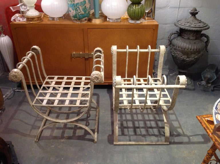 Pair of Iron Curule Benches For Sale 2