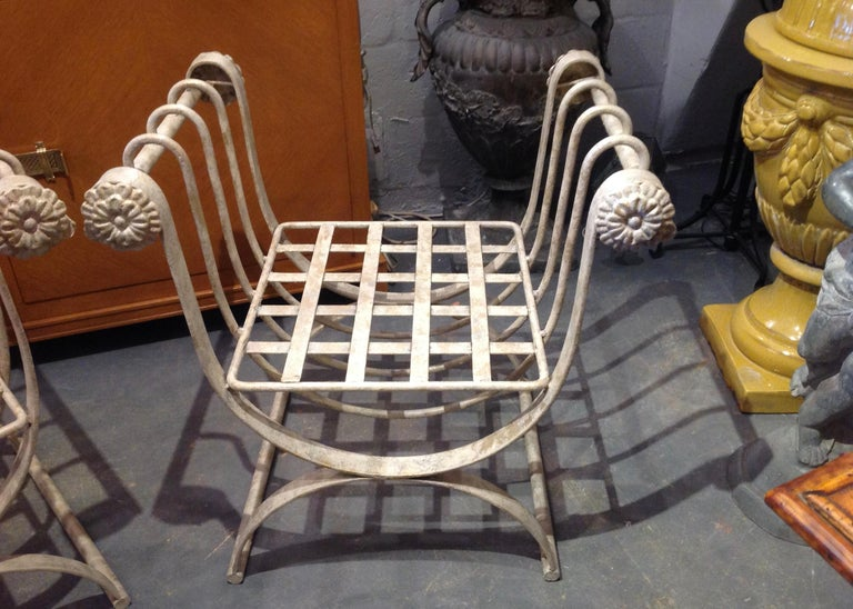 Pair of Iron Curule Benches For Sale 3