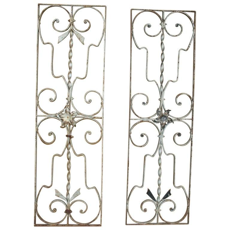 Pair of Iron Door or Window Grills For Sale