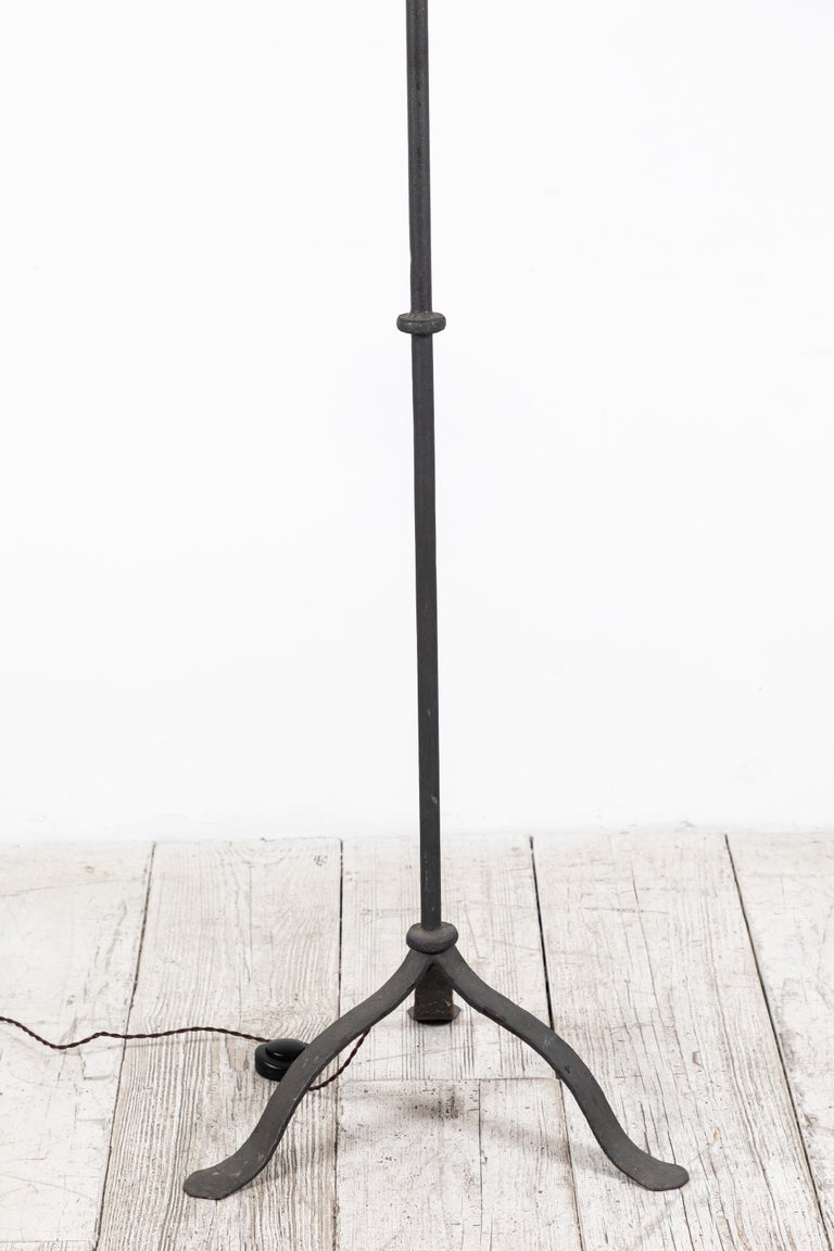 Mid-20th Century Pair of Iron French Lantern Floor Lamps For Sale