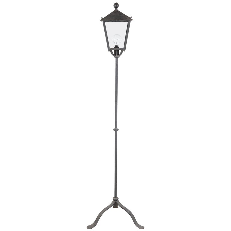 Pair of Iron French Lantern Floor Lamps For Sale