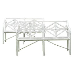 Pair of Iron Garden Benches England, 19th Century European White