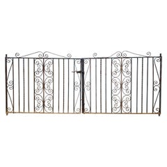Pair of Iron Gates with Scrollwork Design