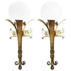 Pair of Iron Gloden tu Lamps or Sconces Torch Form with Glove Opaline Glass
