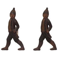 Pair of Iron Hessian Andirons