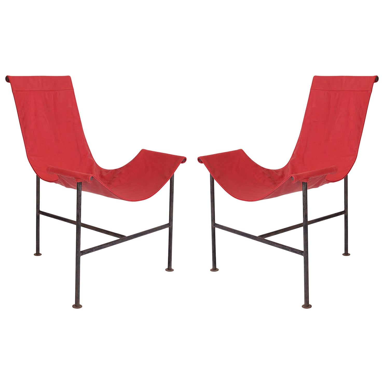 Pair of Iron & Leather Sling Chairs after Giorgio Belloli