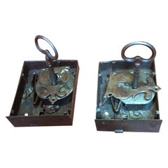 Pair of Iron Locks with Keys, Baroque, Spain, 17th Century