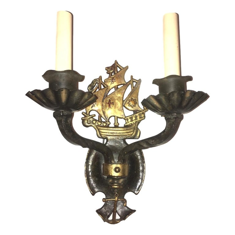 Pair of Iron Nautical Iron Sconces In Good Condition For Sale In New York, NY