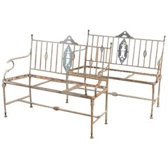 Pair of Iron Neoclassical Garden Benches