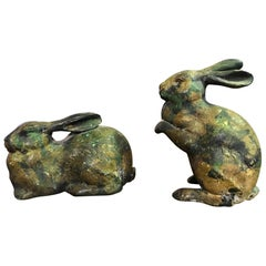 Pair of Iron Rabbits, circa Early 1900s