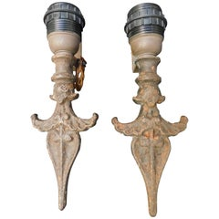 Pair of Iron Sconces Made from 19th Century Architectural Fragments