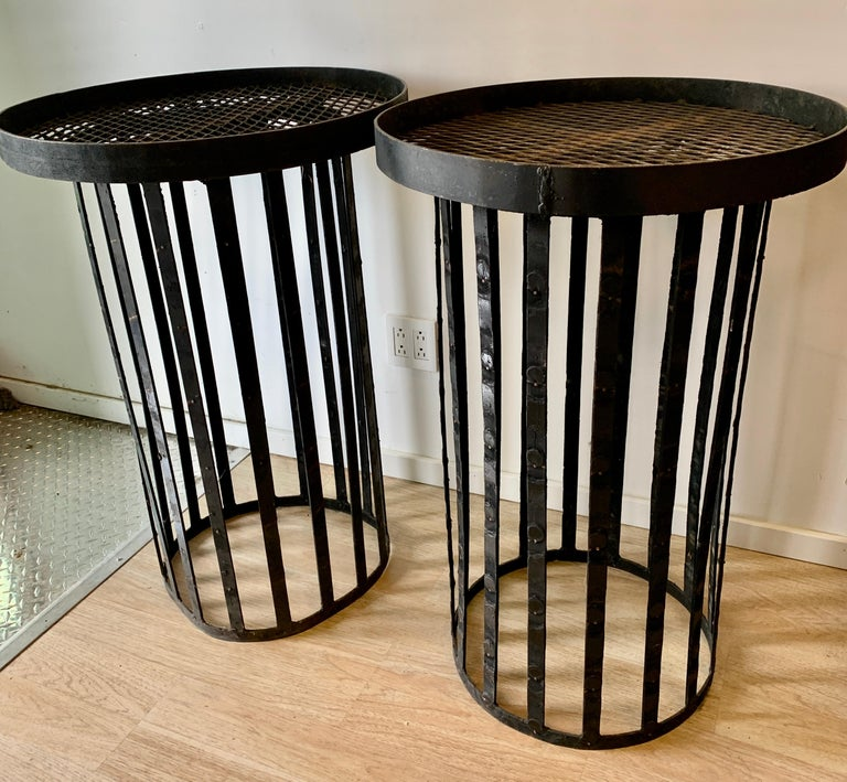 Welded Pair of Iron Stands For Sale