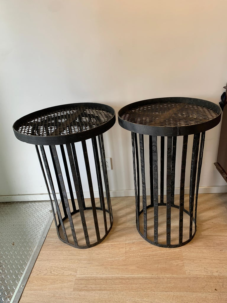 Pair of Iron Stands In Good Condition For Sale In Los Angeles, CA