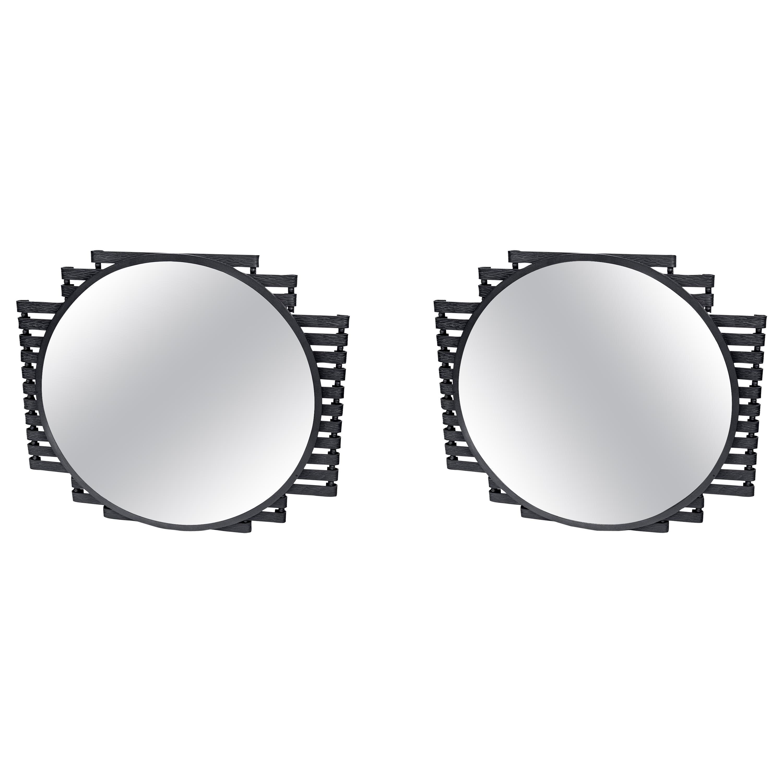 Pair of Iron Wall Mirrors, Art Deco Period. France, circa 1940