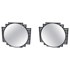 Pair of Iron Wall Mirrors, Art Deco Period. France, circa 1940