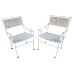 Pair of Iron with Scroll Arms Outdoor Chairs