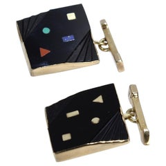 Pair of Isabelle Posillico Geometric Onyx and Gold 1980s Memphis Style Cufflinks