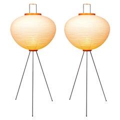 Pair of Isamu Noguchi Akari 10A Floor Lamps