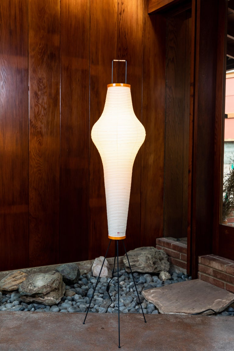 Pair of Isamu Noguchi Akari 14A Floor Lamps In Excellent Condition For Sale In Glendale, CA