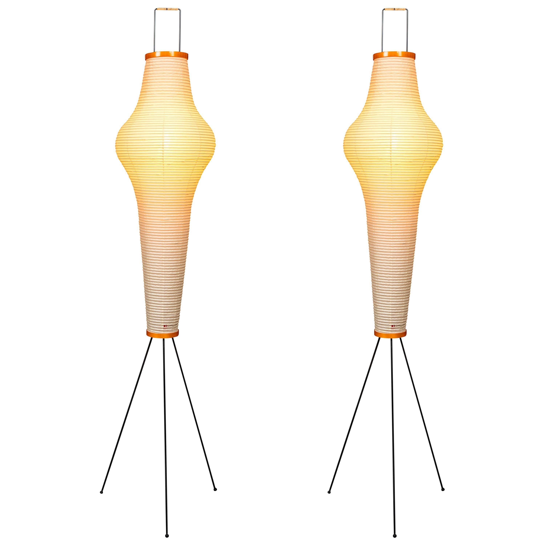 Pair of Isamu Noguchi Akari 14A Floor Lamps