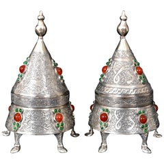 Pair of Islamic Period Arabic Persian Silver and Carnelian Boxes, 20th Century